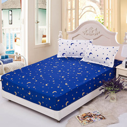 Wholesale Fitted Bedspreads Twin - Wholesale-Home textile bedspread fitted sheet 120*200 elastic rubber bed cover mattress cover fitted sheet + two pillowcase star and moon