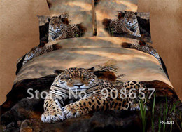Wholesale Leopard Print Comforter Set Cotton - Wholesale-brown leopard animal printing Egyptian cotton bedding set duvet quilt covers sets 4pc for Queen full comforter bed in a bag sets
