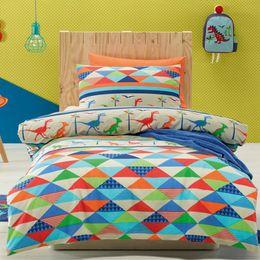Wholesale Children Single Duvet Cover - Wholesale-2pcs Dinoland Bedding Set For Children Kids Cartoon Printed Pattern Single Bed Duvet Quilt Cover&Pillowcase Bedclothes Cotton