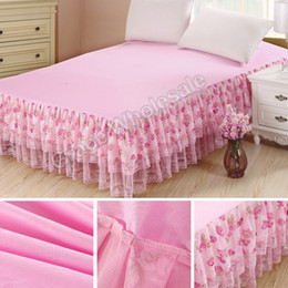 желтые листы полные Скидка Wholesale-Bedding Sets bedspread Princess Lace Bed Skirts Mattress Cover Full Queen King size Free shipping