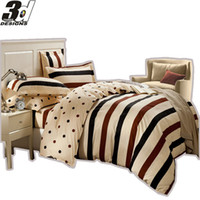 Wholesale King Size Doona Covers - Wholesale-Stripe Point A&B Edition style bedclothes queen size Doona duvet quilt cover sheet pillowcase 4pc bedding set 100% Cotton