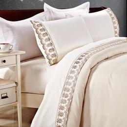 Wholesale Lace Quilt Cover - Wholesale-KOSMOS 4pcs duvet cover set Lace Bedclothes Polycotton bedding set capa de edredon bed linen quilt cover set blanket cover set