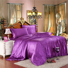 Wholesale Pure Satin Sheets - Wholesale-HOT! 100% pure satin silk bedding set,Home Textile Full Queen King size bed sheet,bedclothes,duvet cover flat sheet pillowcases