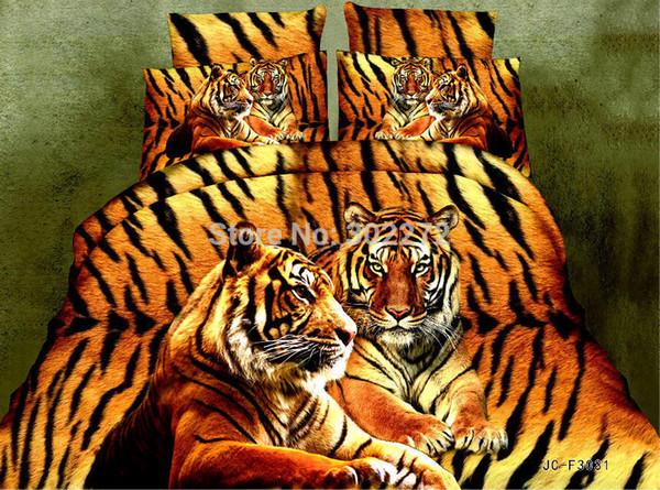 textiles gros maison, Literie Literie 3D Sets Tiger imprimé animal Linge de lit Consolateur / Duver / Housse de couette, lit King Size Linge