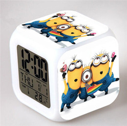 Оптовые подсвеченные часы онлайн-Wholesale-Cartoon Colorful Little Led Alarm Clock Temperature Des Picable Me Digital Watch Led Toys For Kids Interesting Gift Toys Light