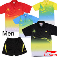 Gros-NEW vêtements de tennis de table de LiNing / Li-Ning Badminton Wear (maillot + short ou chemise) / chemises de badminton