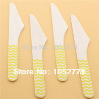 Wholesale Chevron Spoons - Wholesale-1000PCS Yellow Chevron Wood Knives Wooden Utensils Disposable Tableware Matching Wood Spoons and Wood Forks Free SHipping