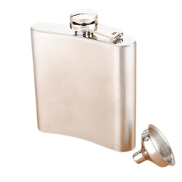 Wholesale Whisky Flasks - Wholesale- GSFY-Stainless Steel Whisky Liquor Alcohol Pocket Hip Flask +Funnel