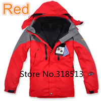 Wholesale Double Layer Ski Jacket - 2015 Brand Fashion 2in1 Double Layer Men's Hiking Jacket Climbing Sports Coat Winter Outdoor Waterproof Ski Suit Free Shipping