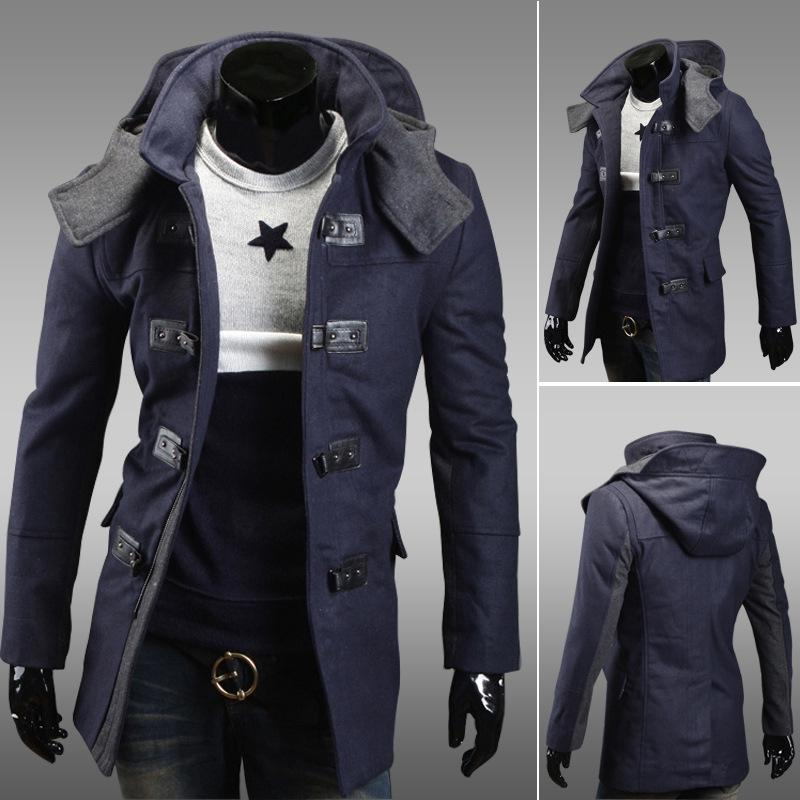 2018 Men Hooded Trench Coat Wool Stylish Long Slim Winter Coats ...