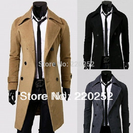 Wholesale Men Over Coats - 2015 New fashion long pattern thickening Cashere COAT Mens OUTWEAR Woolen Slim Over Coat MEN WINTER COATS Long Wool Blend Coat