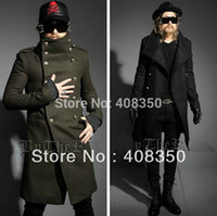 Wholesale Down Double Green - Men Cool Yuppie Double-breasted Turn-down Collar Long Design Slim-fit Melton Woolen Trench Jacket Coat Winter Army Green 4 Sizes