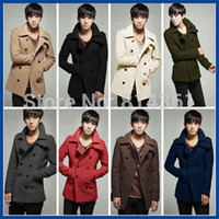 Wholesale Mens Wool Pea Coat Slim - 2015 New Winter Jacket Men Double Breasted Trench Coats Mens Peacoat Long Wool Overcoat Outdoors Slim Fit Casual Man Pea Coat