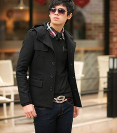 Discount Short Black Trench Coat Men | 2017 Short Black Trench ...