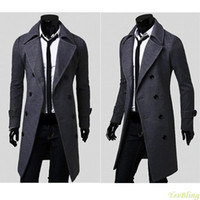 Wholesale Worsted Coat Mens - Free Shipping Nice Mens Worsted Trench Coat Solid Color Double Breasted Notched Collar Slim Fit Windproof Pea Coat for Men Fit