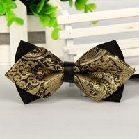 Wholesale Gravatas Jacquard - Wholesale-20 style luxury mens silk pointed bow tie black and gold gentlemen butterfly fashion bowtie jacquard gravatas borboleta lot