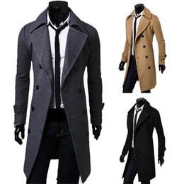Верблюжьей шерсти онлайн-Fashion men winter trench coat double breasted overcoat black Camel Gray free shipping M-XXXL