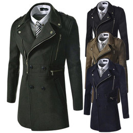 Wholesale Trench Down - Man Down Brand Winter mens pea coat Military abrigos hombre trench pea coat Dust Men's wool Coats Double Breasted men 6891