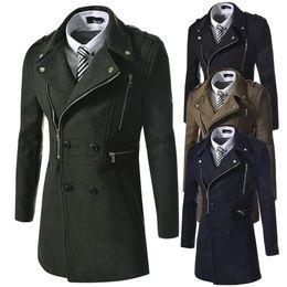 Wholesale Mens Dust Coats - Man Down Brand Winter mens pea coat Military abrigos hombre trench pea coat Dust Men's wool Coats Double Breasted men 6891