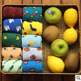 Wholesale Vegetable Prints - Wholesale-New Arrival Fresh Style Fruit Vegetables Pattern Creative Thickening Thermal Slippers Socks Novelty Cotton Socks