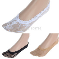 Wholesale Cheap Cool Socks - Wholesale-12 pairs lot Wholesale Summer Cool Thin Lace Socks women Low Cut Invisible Antiskid Slippers Shallow Mouth Cheap Free Ship