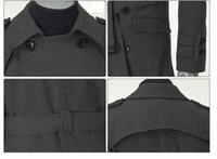 Wholesale Coat Wool For Men Cheap - 2015 Fashion Men's Pea Coat Trench Coat & Overcoat For men   Long Double-Breasted Coat jacket black cheap winter long Wool coat