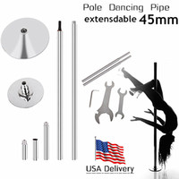 Wholesale Dance Pipe - Wholesale-USA GGWG-1 New Kit Dancing Pole Dance Pipe Tube Fitness EquipmentPortable Static Stripper Spinning Exercise 45mm Extensible