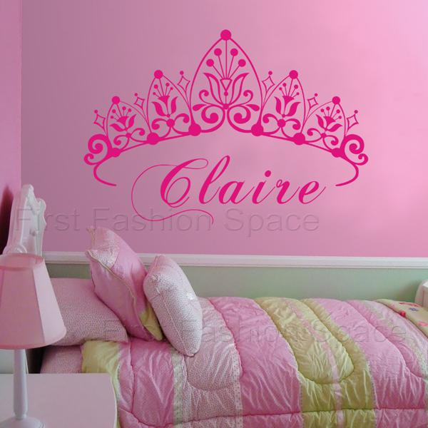 New 2015 Baby Girl Crown Wall Decal Princess Name Nursery Vinyl Wall  Sticker Wall Art For Kid Room Decor Size 81x58cm Girl Wall Decals Girl Wall  Stickers ...