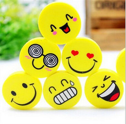 Wholesale Kid Lovely Smile - Wholesale-4pcs x Lovely Cute I Love Smile Emoticon Style Rubber Pencil Eraser Students Stationery New school supplies kids Gifts