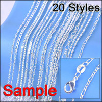 "Wholesale Silver Plated Link Necklace - Wholesale-Jewelry Sample Order 40Pcs Mix 20 Styles 18"" Genuine 925 Sterling Silver Link Necklace Set Chains+Lobster Clasps 925 Tag"