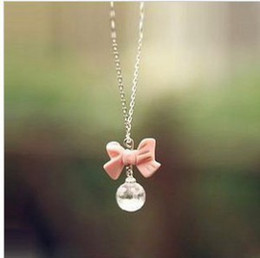 Wholesale European Super Fashion Necklace - Wholesale-Free shipping! European and American fashion super sweet pink bow ball drop necklace wholesale women