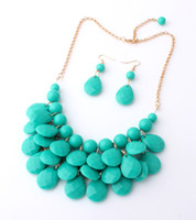 Wholesale Jewellery Bubble Necklaces - Wholesale-9 Colors 2015 New Fashion Chokers Bib Bubble Statement Necklace for Women Jewellery Acrylic Beaded Necklaces with Earrings set