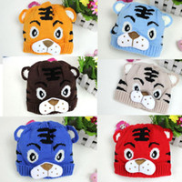 Wholesale-1PCS geben Verschiffen Winter-Baby-Kleinkind-Kind Knitting Winter-Tiger-Hut W / Heck Bonnet Beanie weiche warme