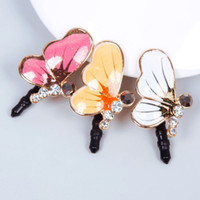 Wholesale Anti Dust Plug Butterfly - Wholesale-Bling Rhinestone Cute Butterfly Anti Dust Plug Cover Charm Plugs for Mobile Cell Phone #62691