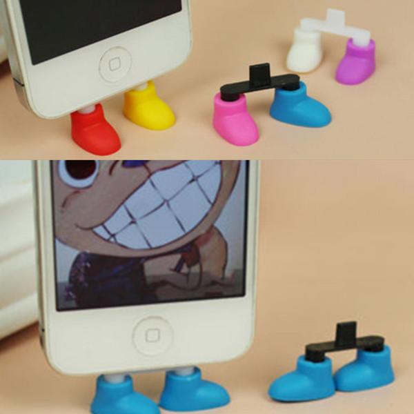 Gros-chaussure pied forme antipoussière usb chargeur port plug support titulaire gadget pour téléphone 5 livraison gratuite
