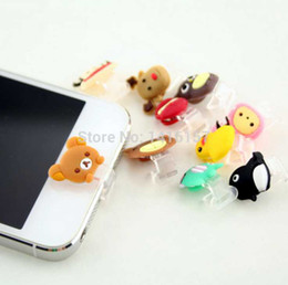 Wholesale Cute Animal Anti Dust Plugs - Wholesale-Cute animals Data Jack Anti Dust Plug + Home Button Sticker for iPhone 5 iPad 4 Mini Touch 5,Color Random