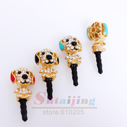 Wholesale Dog Dust Plugs - Wholesale-New Arrival ! Wholesale cell phone accessories 3.5mm Cute Rhinestone Dust Plug Dogs Charms 3 Colors Mixed