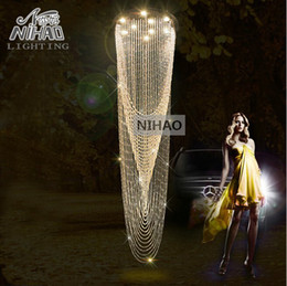 Wholesale Curtain Light Chandelier Crystal - Wholesale-Modern Crystal Curtain Chandelier Light Fixture for Lobby, staircase, stairs, foyer Large Crystal Lighting different sizes
