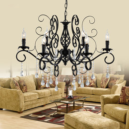 Wholesale decorative iron works - Europe Style wrought iron crystal pendant chandelier lighting restaurant lamp home decorative light fixure