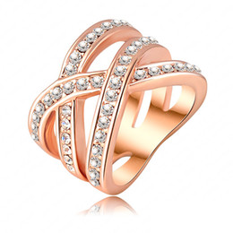 Wholesale Women Stylish Rings - Wholesale- Stylish Style Ring 18K Rose Gold Plated Austrian Crystal SWA Element Women Rings Exaggerated Ring Ri-HQ0120