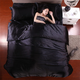 Wholesale Quilts Queen Beds - Wholesale-2015 Hot Silk Quilt Black Satin Sheets Bed Linen Cotton Solid Satin Duvet Cover Set King Size Bedsheet 4pcs of Bedding Sets