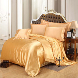 Wholesale Twin Size Ruffle Bedding - Wholesale-100% luxury pure satin solid silk bedding set golden Home Textile King queen size bedclothes,duvet cover flat sheet pillowcases