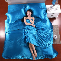 Chinese  Wholesale-Wholesale Silk Sheets China Silk Bedspreads Bed Linen Cotton 4pcs of Blue Silk Duvet Cover Sets Bedsheet Pillowcase Freeshipping manufacturers