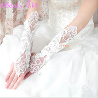 Wholesale Delicate Fingerless Gloves - Wholesale-New Delicate Lace Bridal Glove Wedding Prom Party Costume Long Gloves Fingerless
