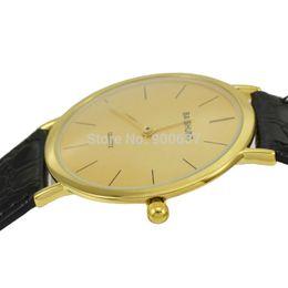 Wholesale Folding Water Glass - Wholesale-2015 New Design Fashion Simple Concise Thin Watch Men Luxury Gold Quartz Watch Wristwatch BAISHUNS 3118 relojes para hombre