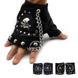 Wholesale Black Leather Tactical Gloves - Wholesale-PU Leather Skull Punk Black DRIVING Motorcycle Biker Fingerless Tactical Gloves Mens Womens Gloves Wholesale Gift for Xmas UGM03