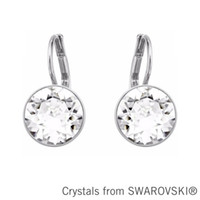 Wholesale Made Swarovski Elements Earrings - Wholesale-Bella mini pierced earrings Made with SWAROVSKI ELEMENTS new gold color clear crystal 2015 gift for women