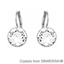 Wholesale Earring Swarovski Elements - Wholesale-Bella mini pierced earrings Made with SWAROVSKI ELEMENTS new gold color clear crystal 2015 gift for women