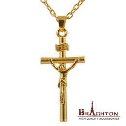 Wholesale Wholesale Crucifix Pendants - Wholesale-1PCS Jesus Cross Necklace 18K Real Gold Plated INRI Pendant For Men Jewelry Fashion Religious Jewelry Crucifix Necklace 2015