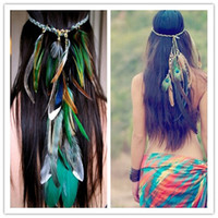 Gros-Bird Feather Bandeau Native American Indian Hippie bandeau Bijoux de cheveux